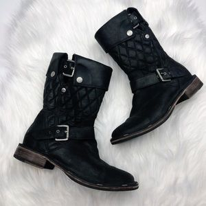 Ugg Conor Black Leather Quilted Moto Boots